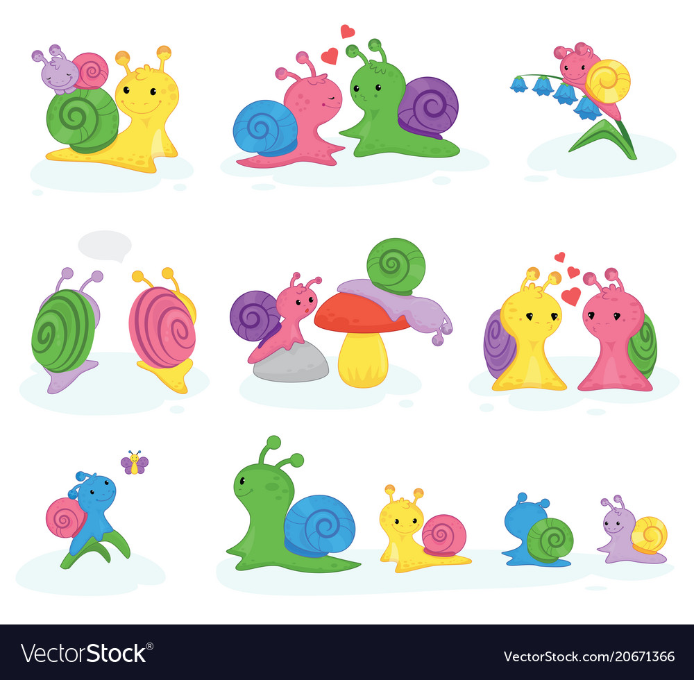 Snail snail-shaped character with shell and vector image