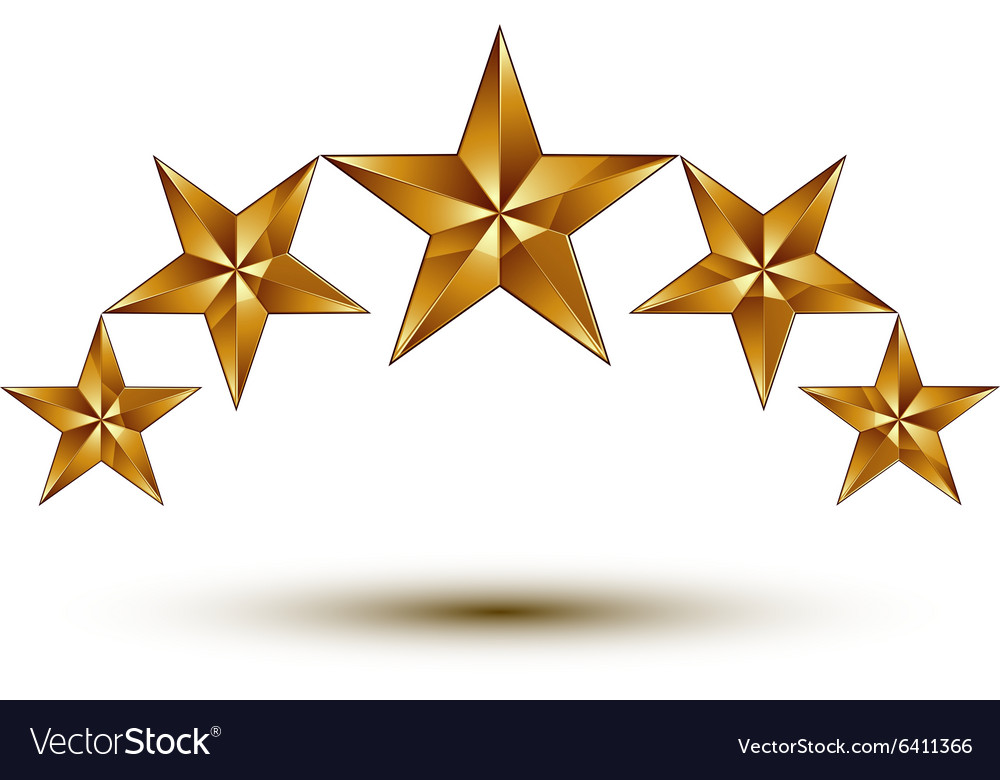 Wonderful Template With 5 Golden Stars Rounded Vector Image