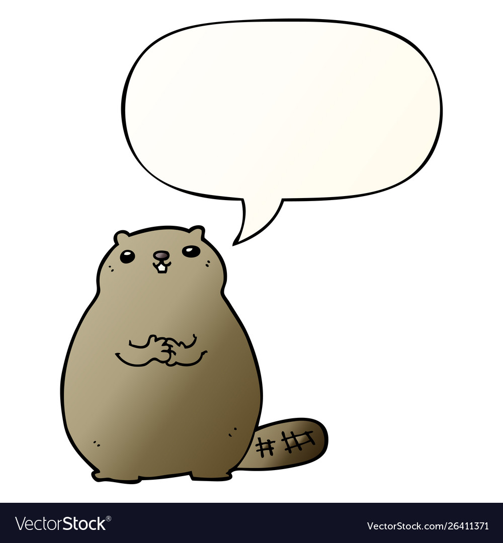 Cartoon beaver and speech bubble in smooth