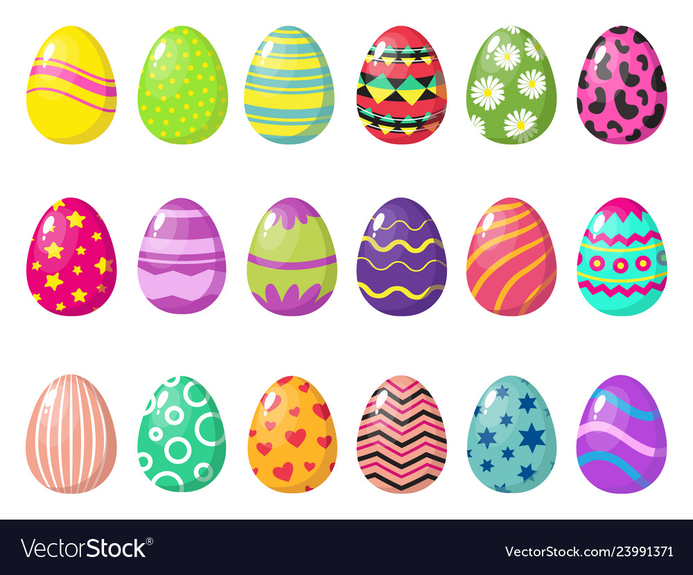 Cartoon colorful easter eggs with patterns