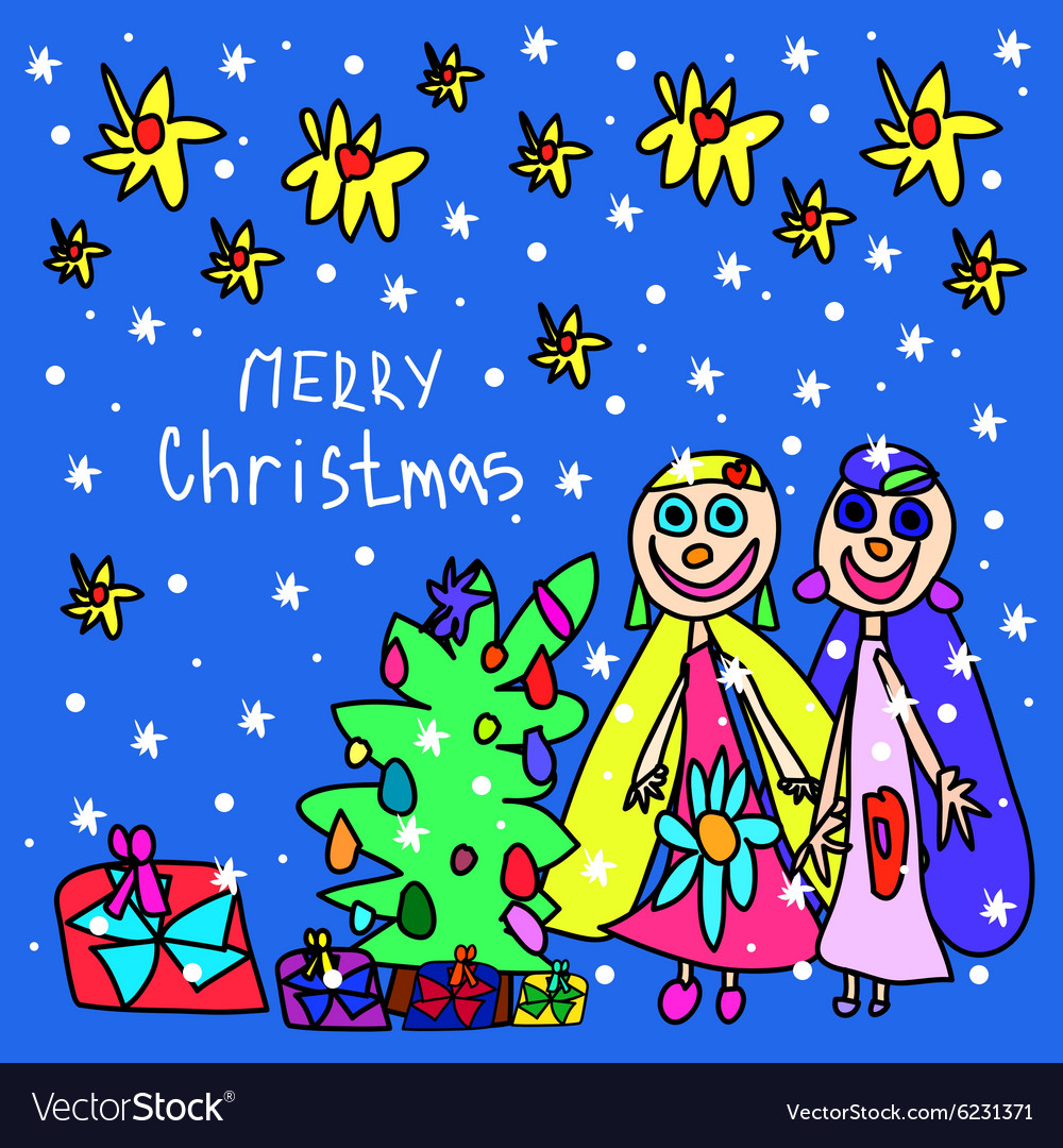 Children Christmas Cards.Childrens Drawing Christmas Card