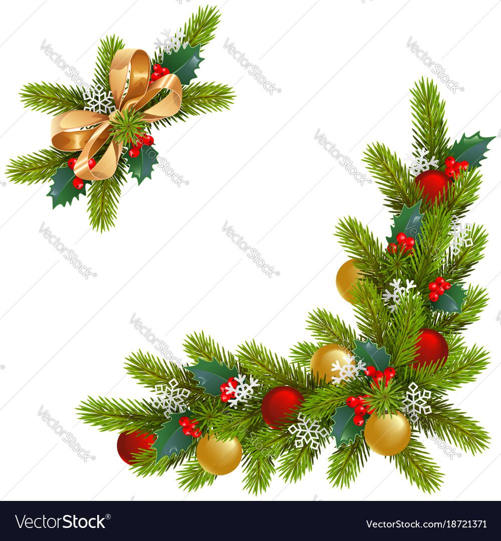 Christmas Corner Decorations Royalty Free Vector Image