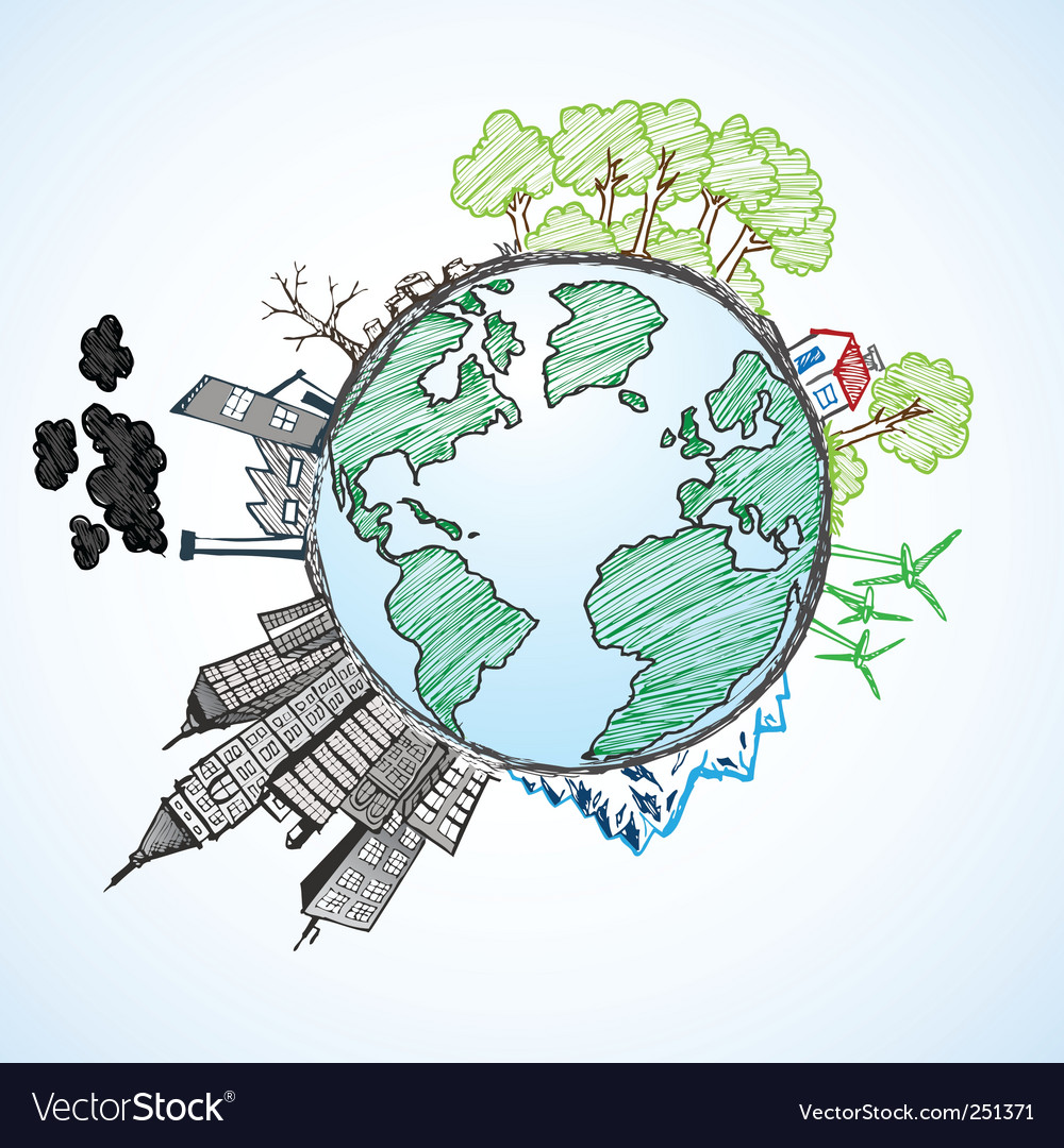 Earth doodle vector image