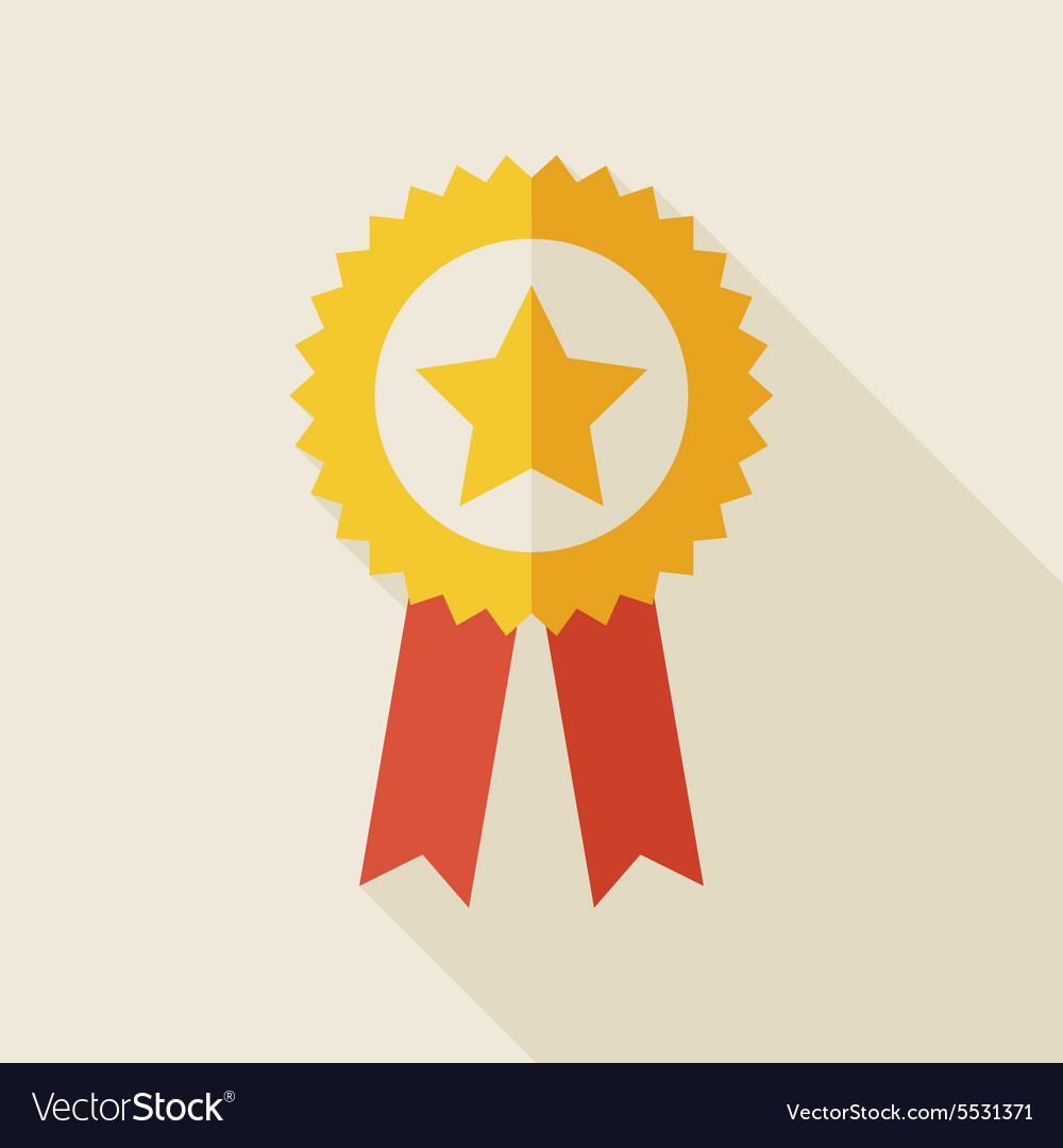 Flat Award Gold Medal with long Shadow
