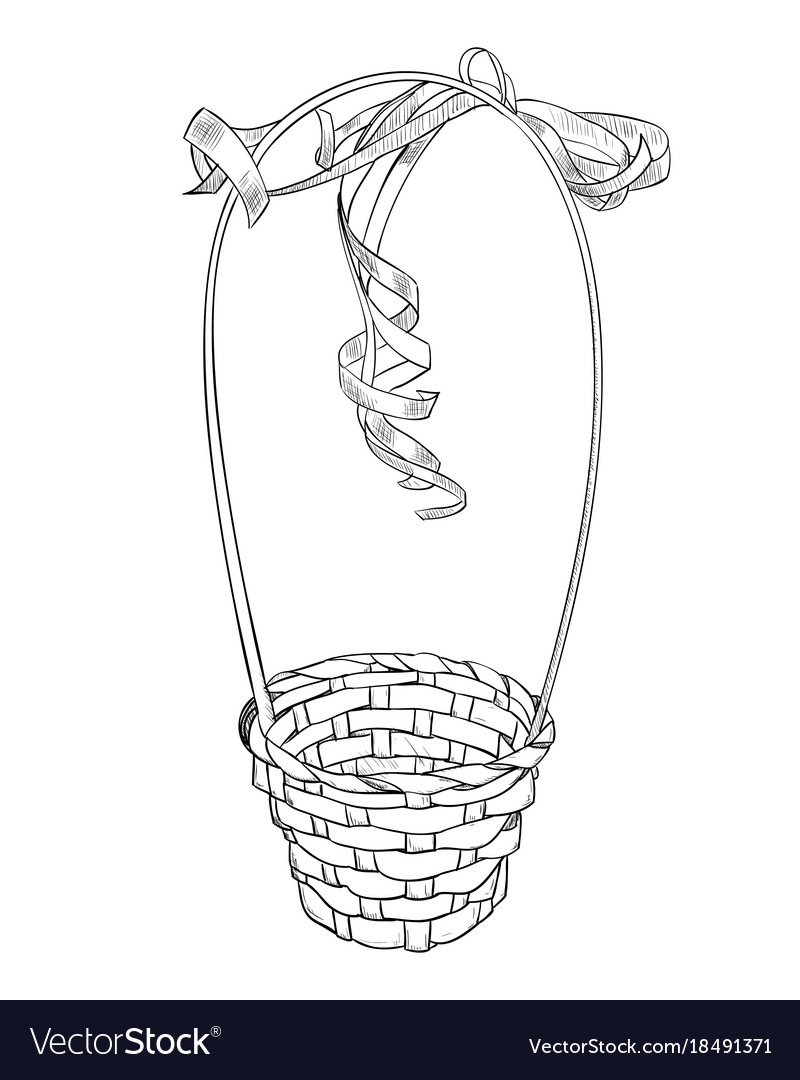 Hand drawn sketch of basket from vines