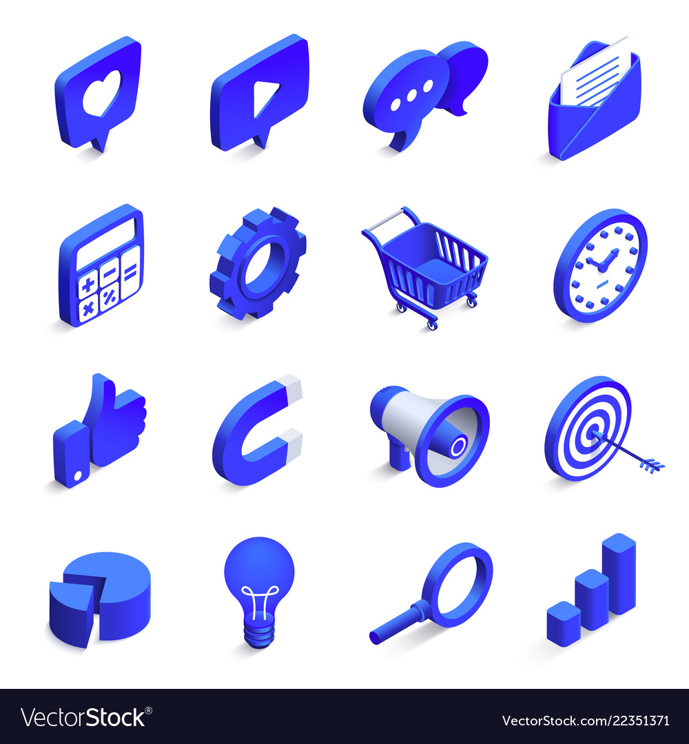 Isometric social marketing inbound and outbound