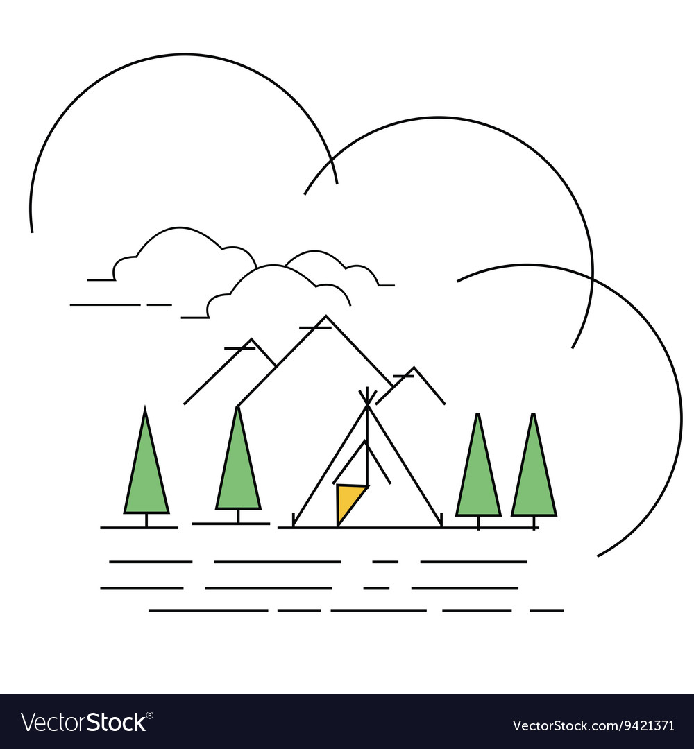 Line style landscape mountain with
