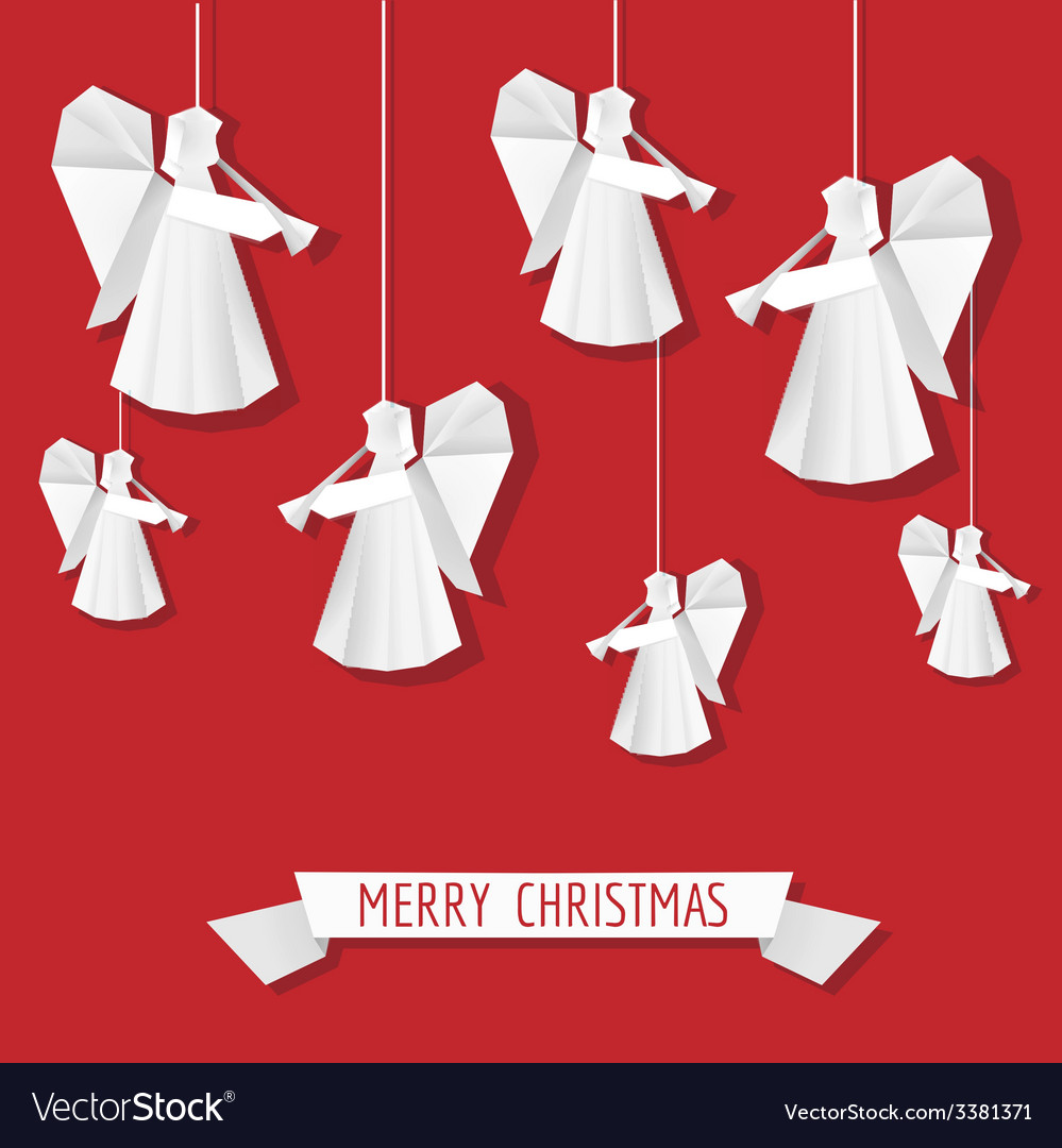 Origami Paper Angel - Christmas Background