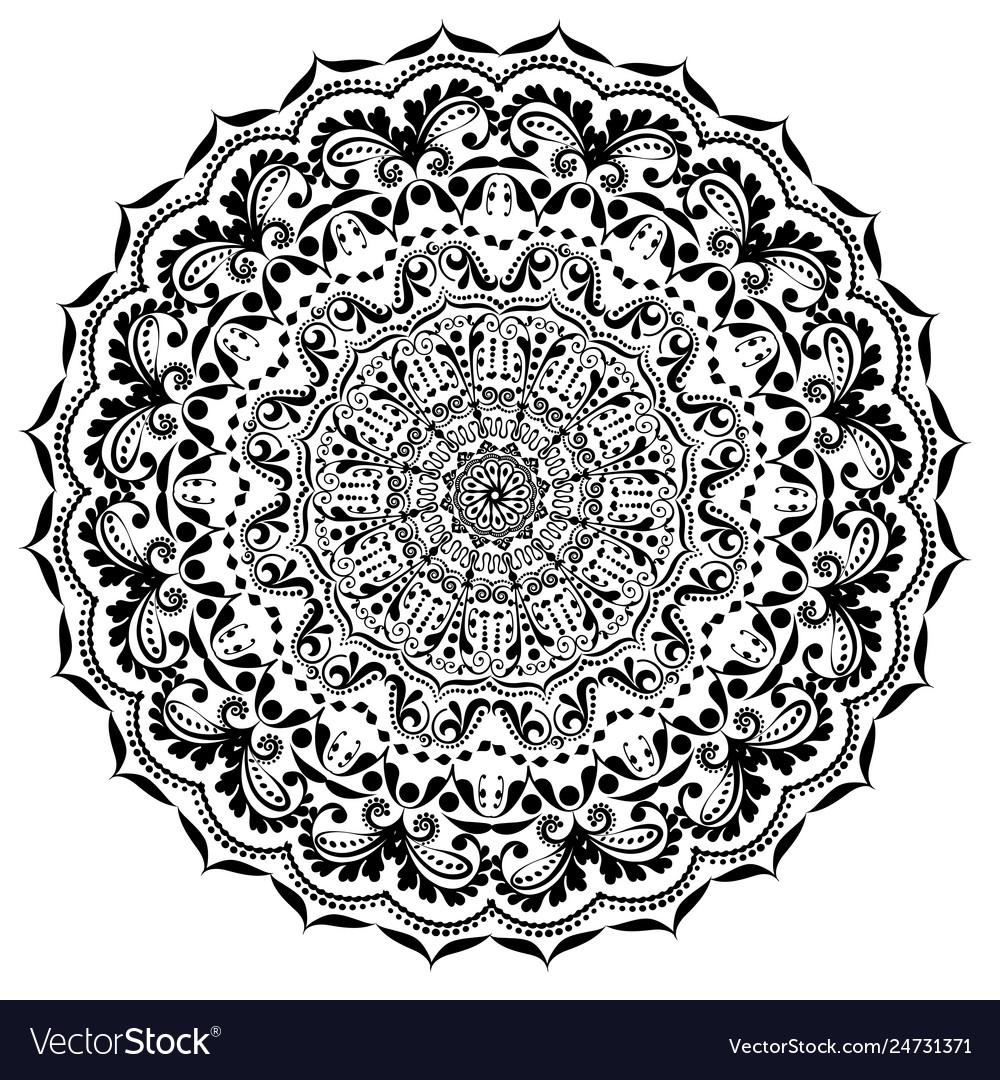 Ornament circular mandala black white ornamental