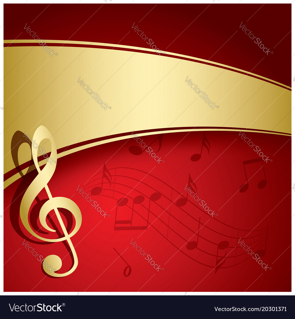 Red background with gold decorations - music