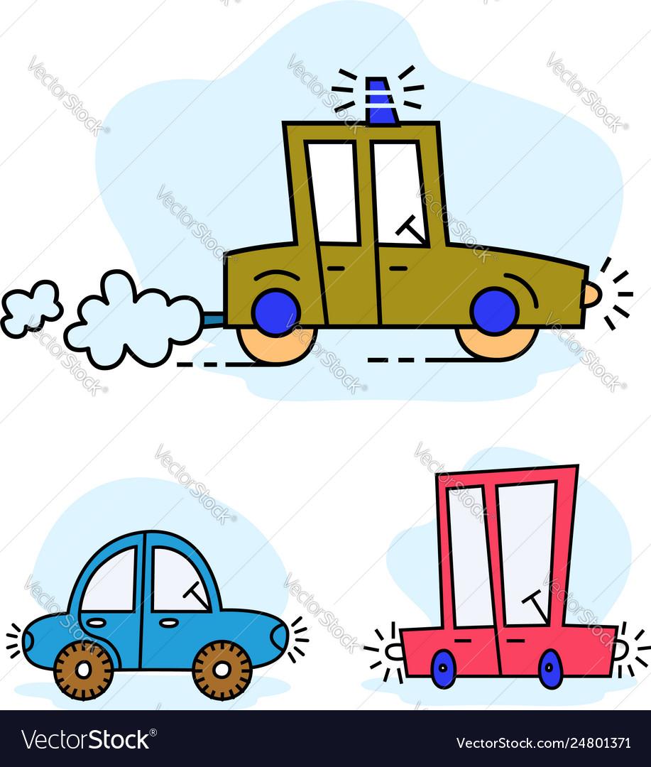 Set funny cartoon colorful cars