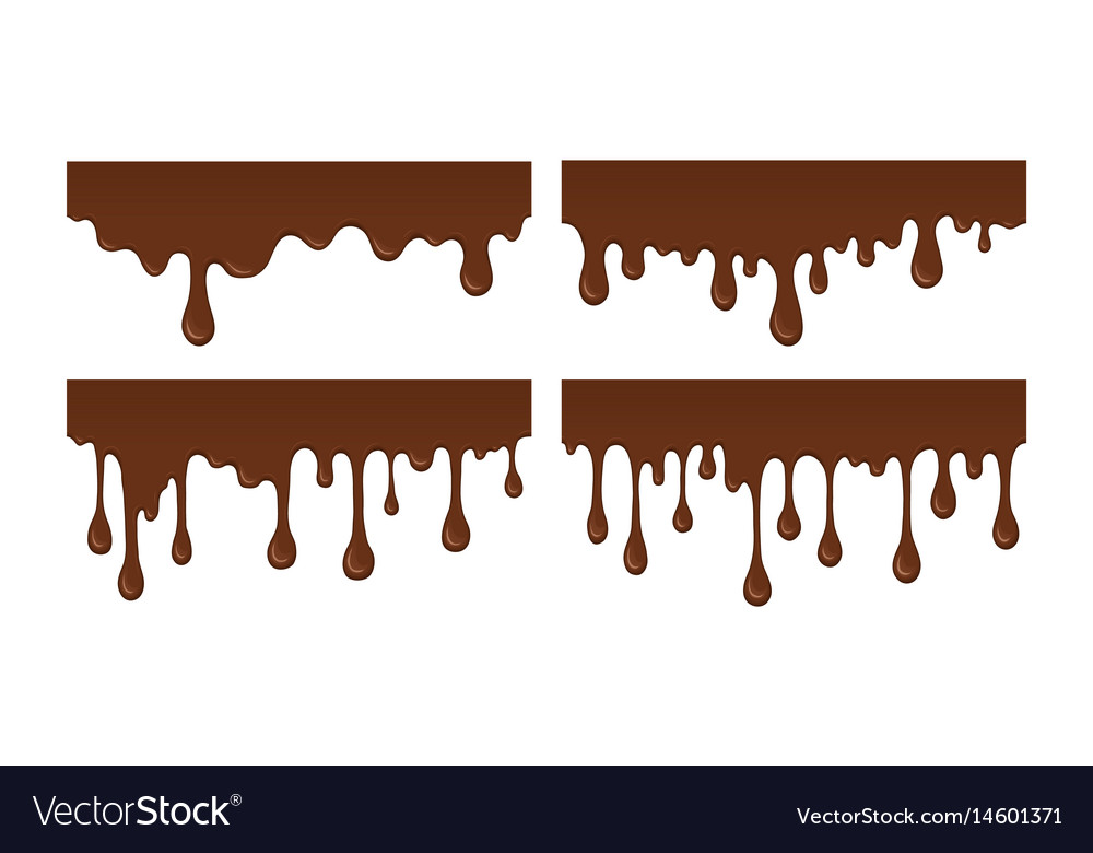 Set of melted chocolate drip