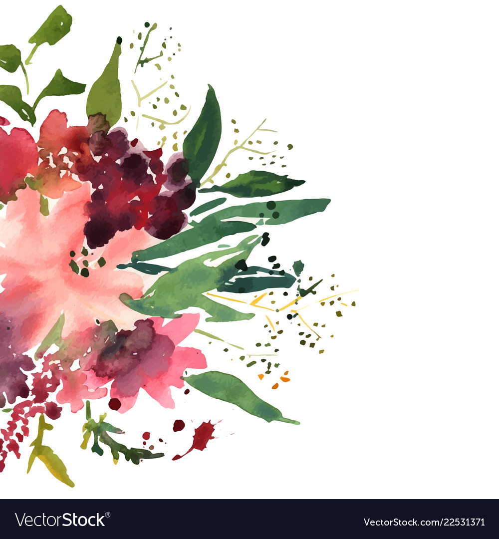 Watercolor flowers in frame hand drawn for print
