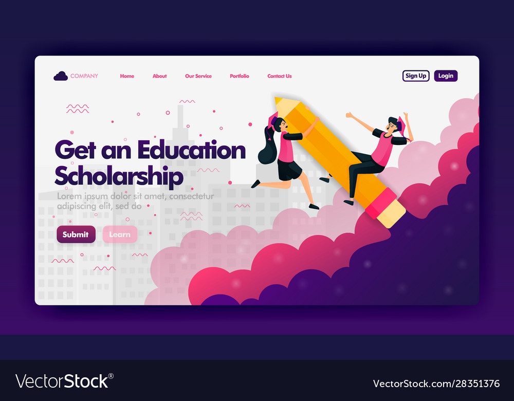 Ads To Get Educational Scholarships With Flat Vector Image