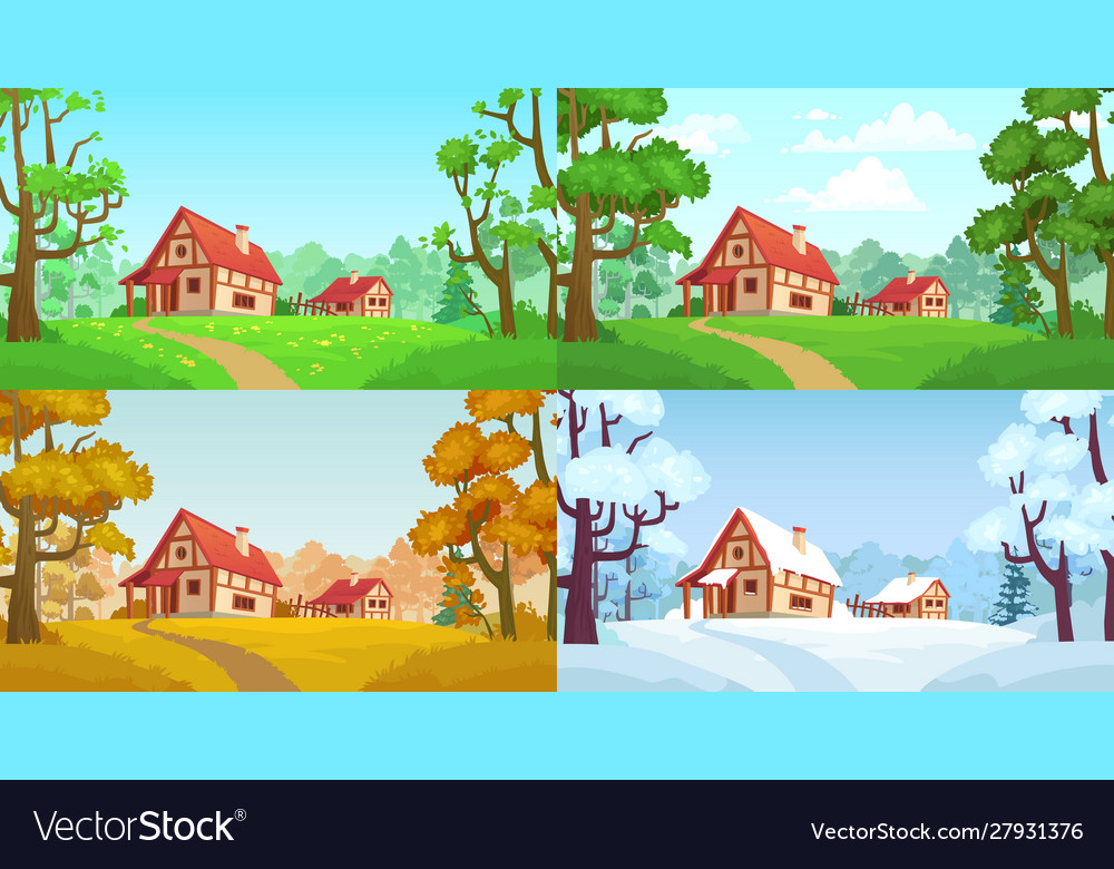 Cartoon house in woods forest village four