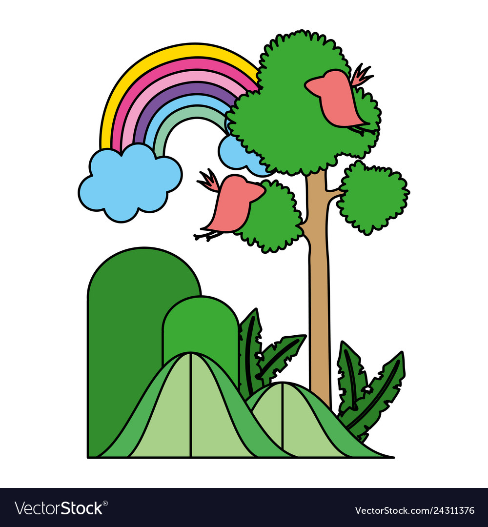 Color natural tree and mountains with rainbow