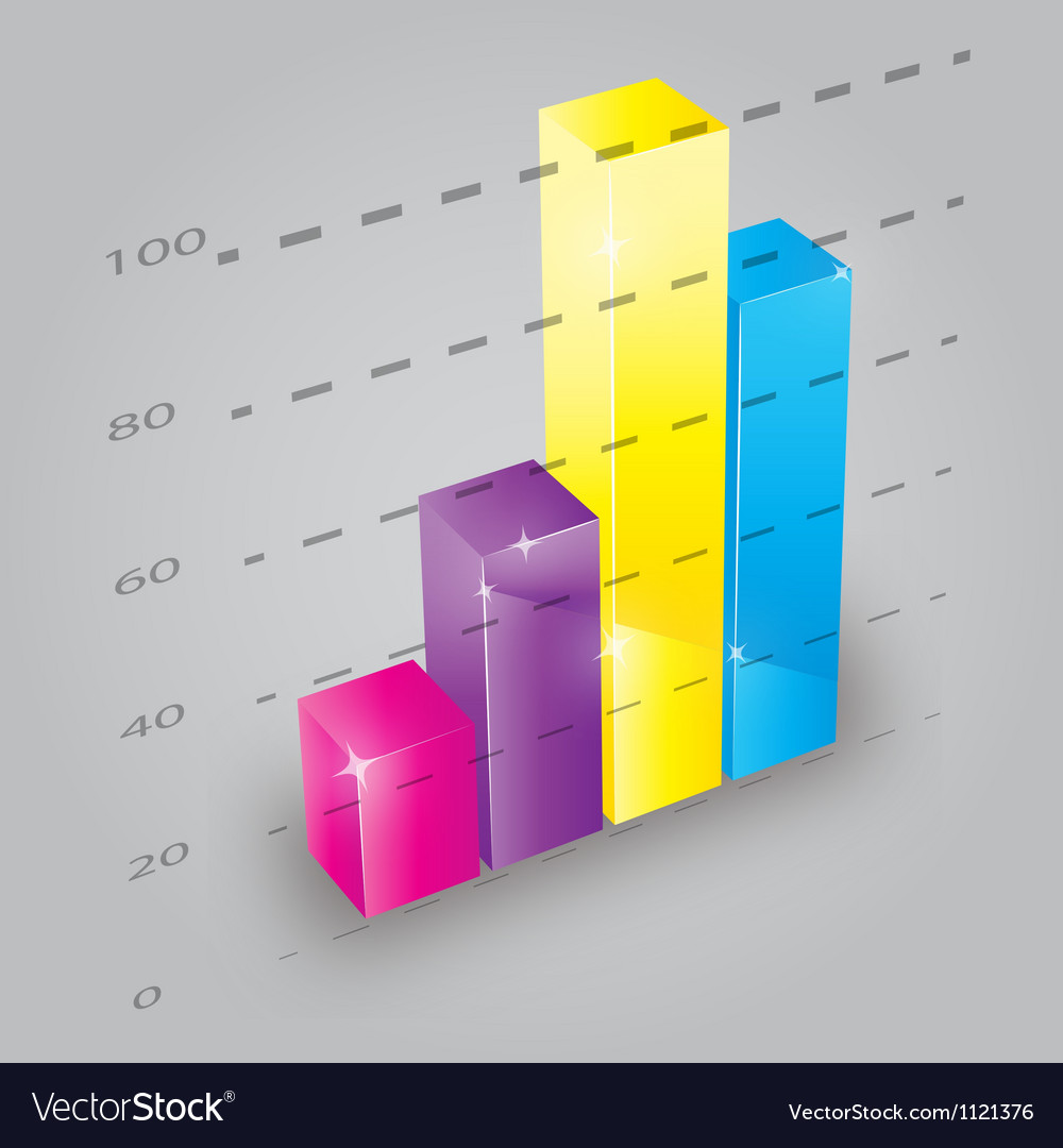 colorful 3d bar chart royalty free vector image