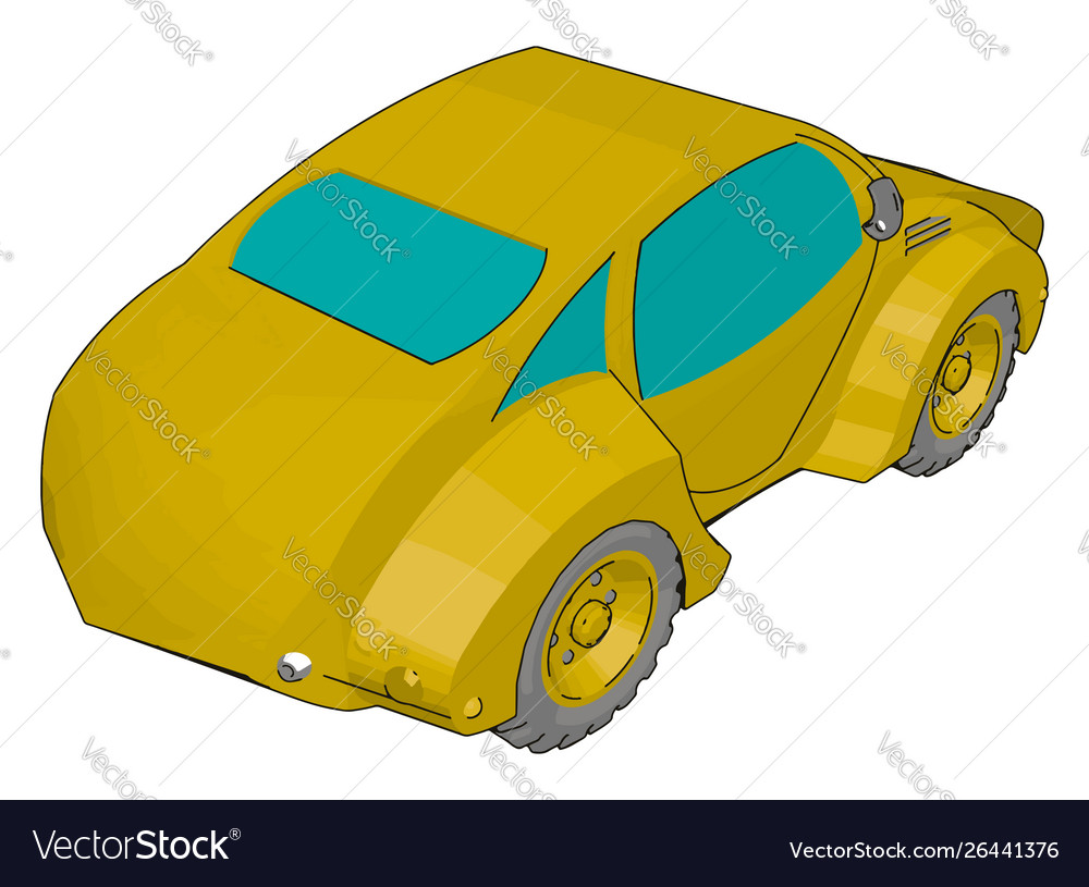 Cool yellow car on white background
