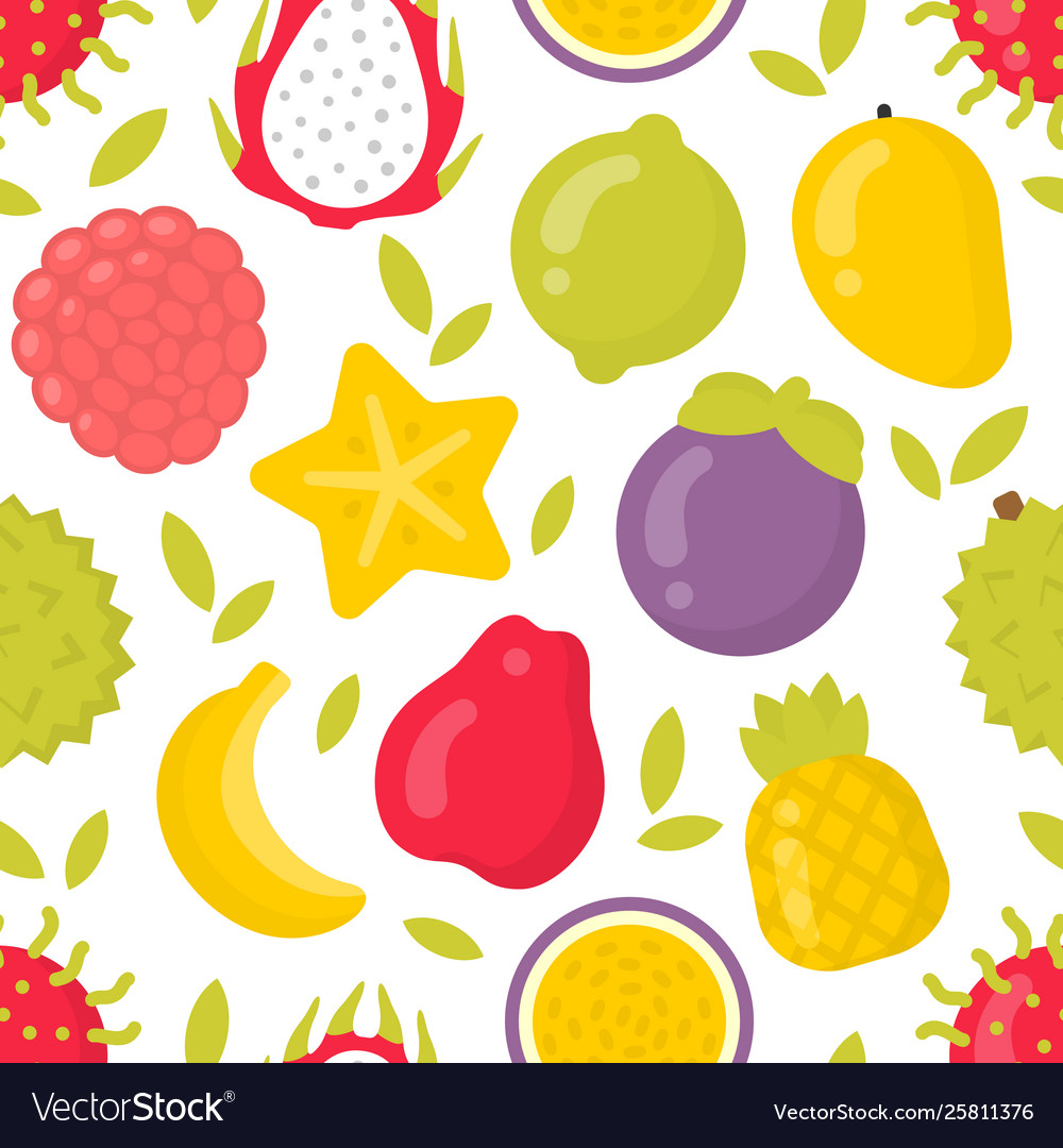 Cute exotic fruits seamless pattern on
