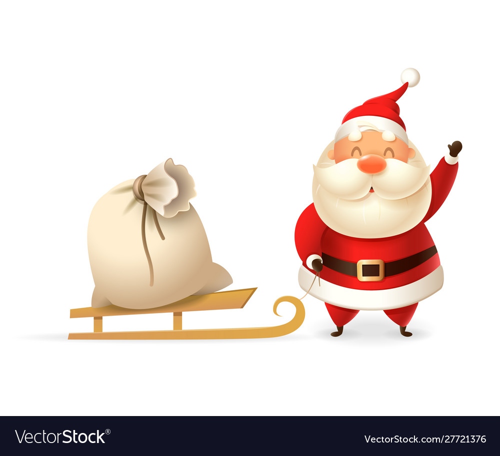 Cute santa claus with sleight and gift bag