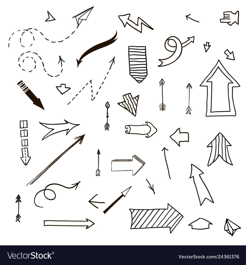 Different arrows hand drawn set