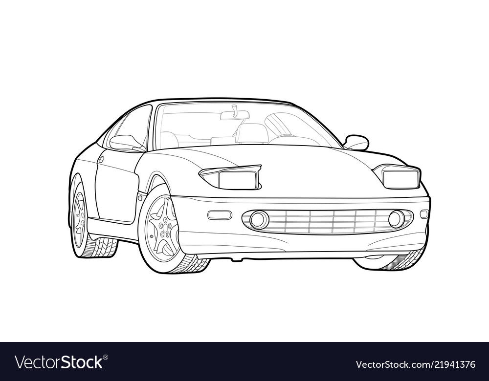 Draw of a flat sport car with black lines