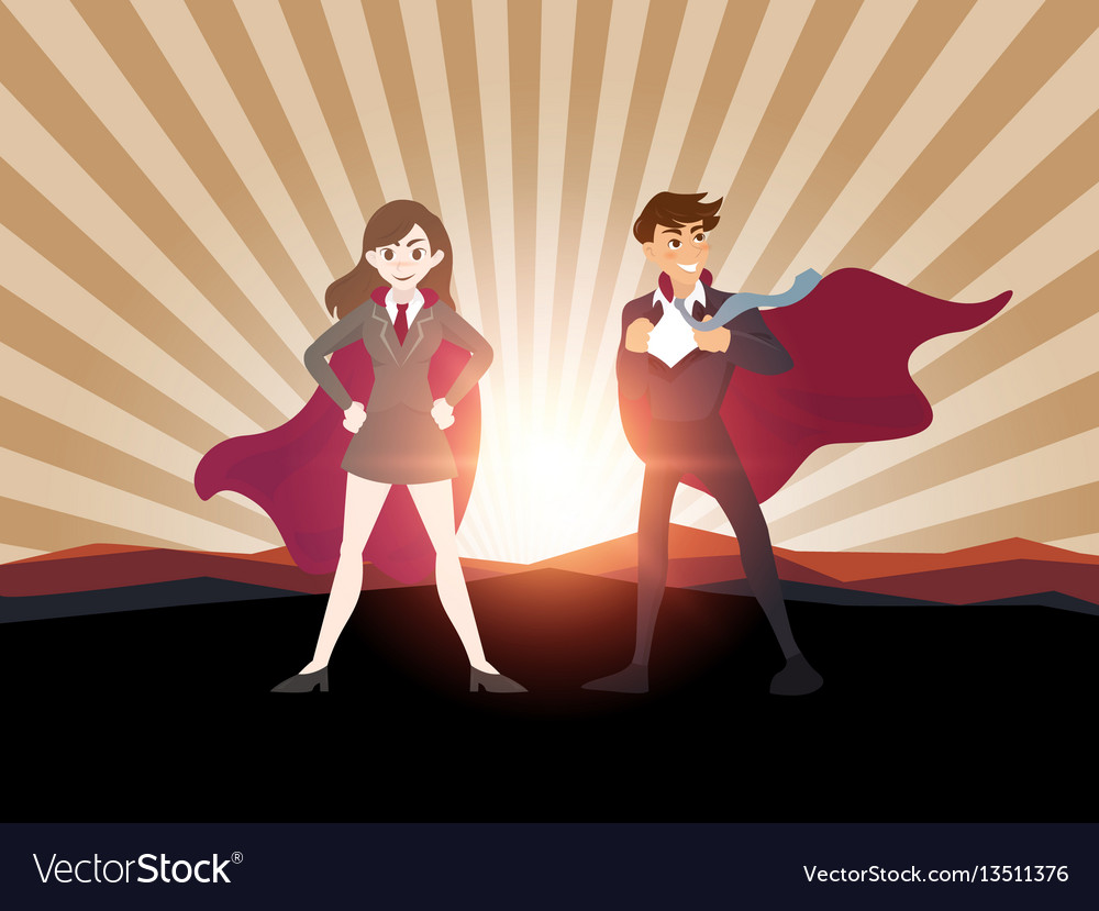Man and women superhero with sunlight