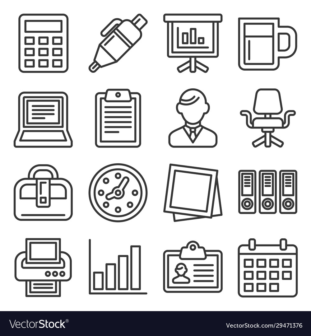 Office supplies icons set on white background