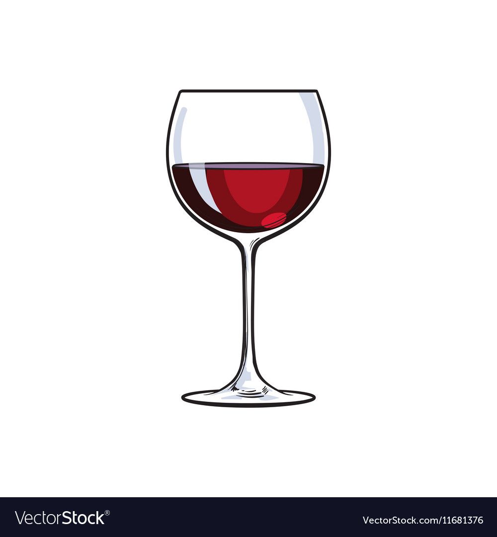 Red Wine Glass Sketch Royalty Free Vector Image