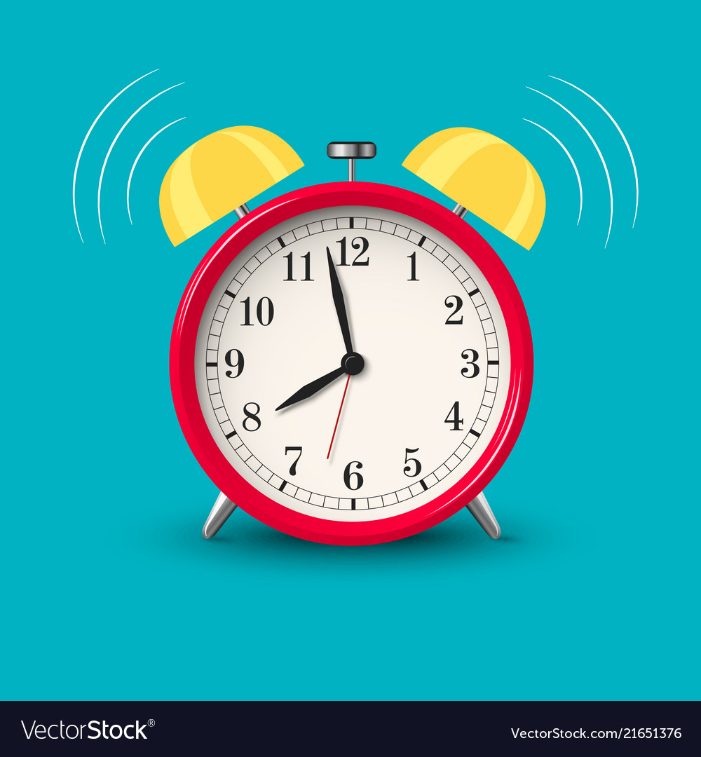 Ringing alarm clock red in bright color style