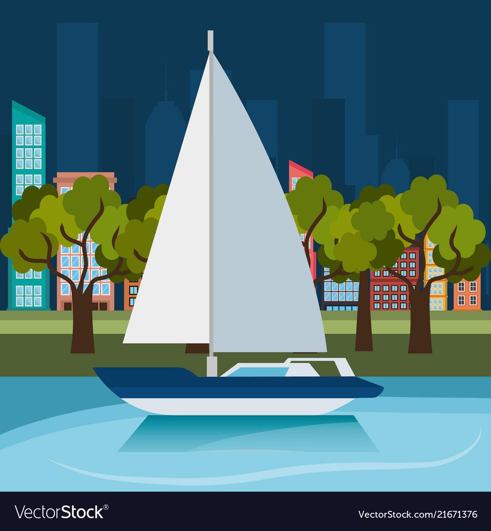 Sea adventure sailign boat label design