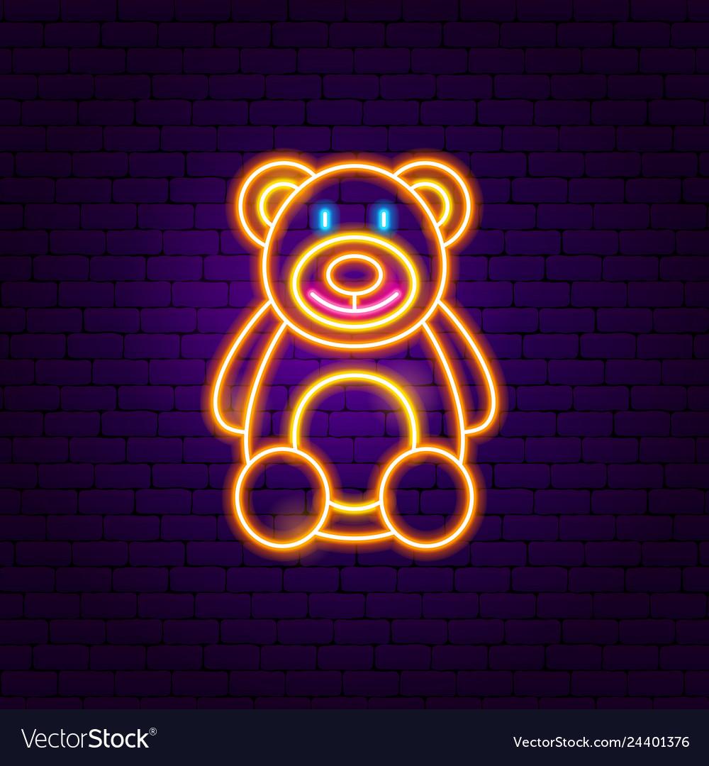 Teddy bear neon sign