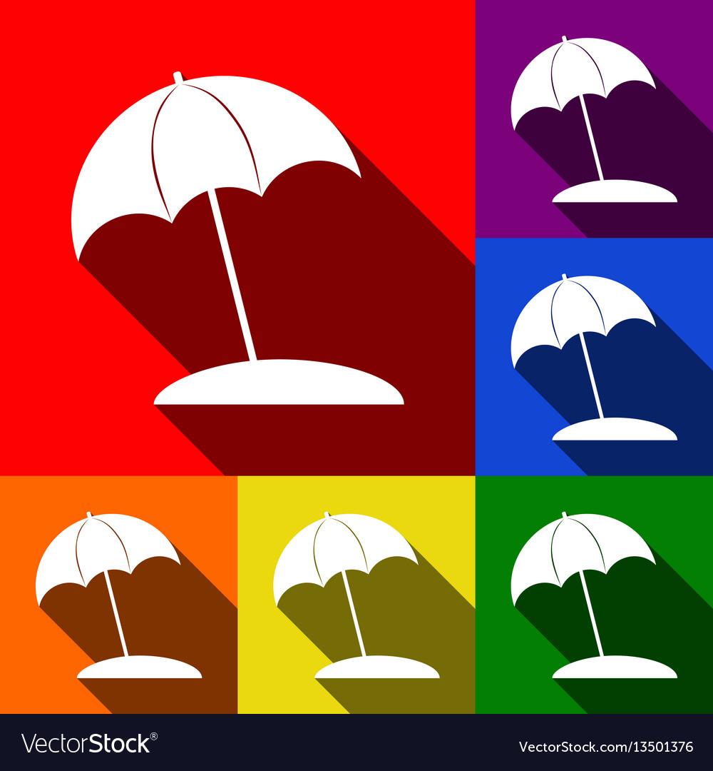 Umbrella and sun lounger sign set of