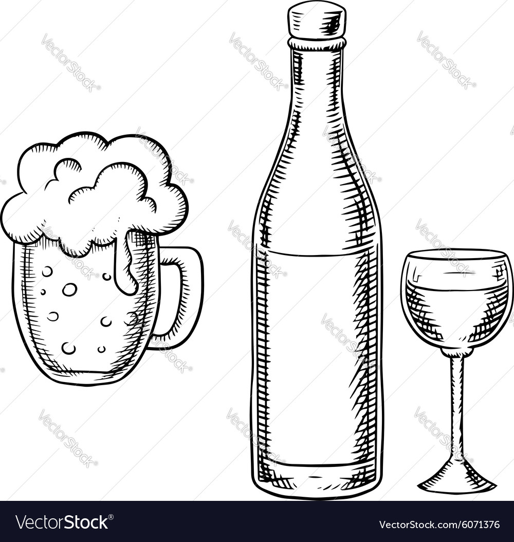 Wine glass bottle and beer tankard vector image