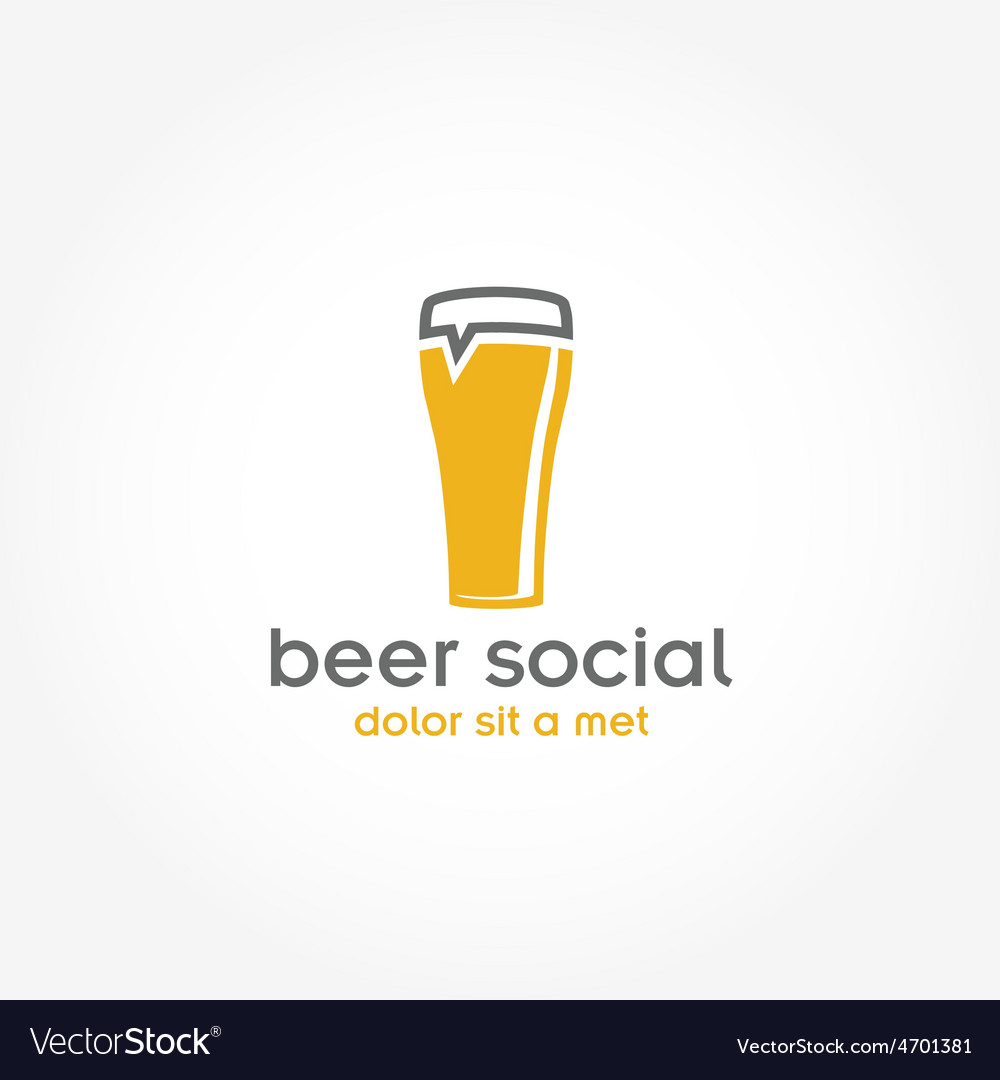 Beer glass pub design template Royalty Free Vector Image