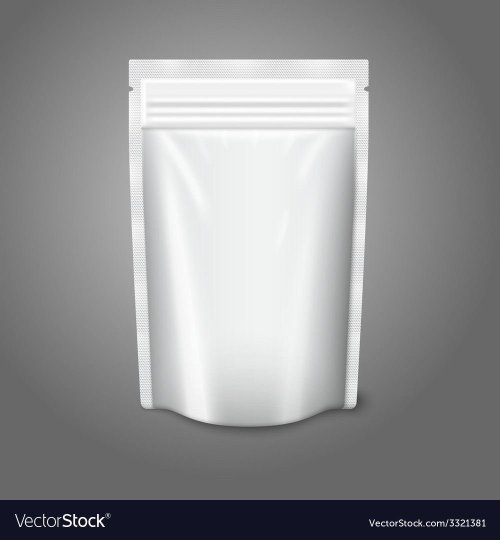 Blank white realistic plastic pouch with zipper vector image