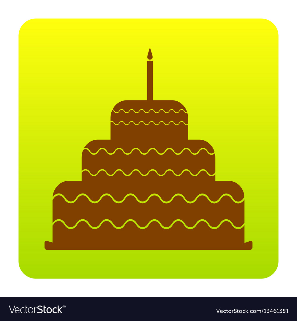 Cake with candle sign brown icon at green