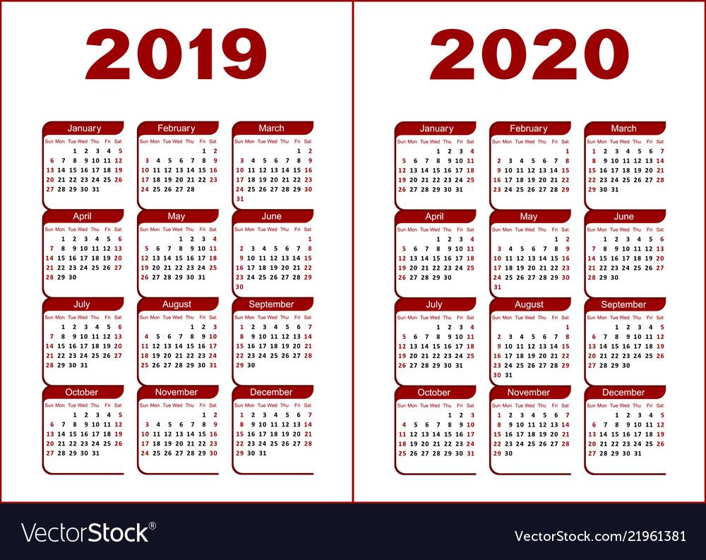 Calendar 2020.Calendar 2019 2020