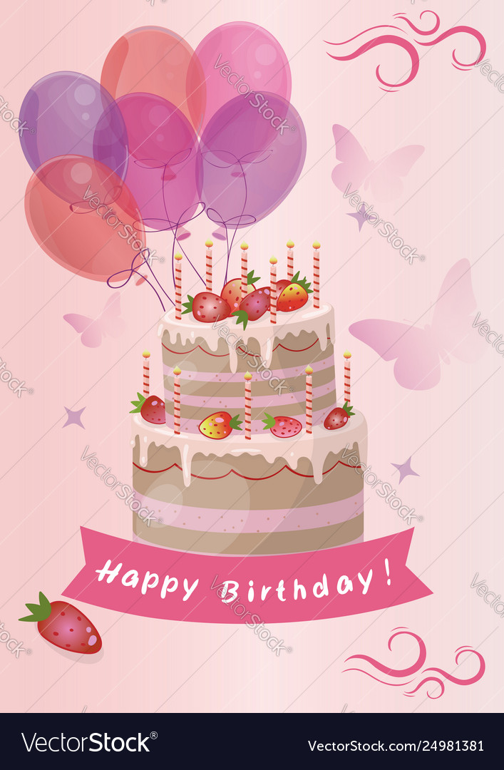 Strange Card With Cute Strawberry Birthday Cake Image Vector Image Funny Birthday Cards Online Overcheapnameinfo