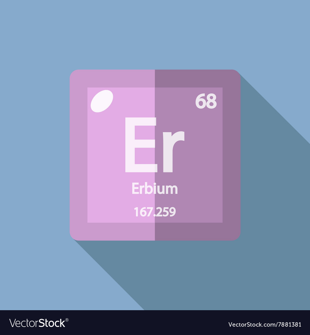 Chemical Element Erbium Flat Royalty Free Vector Image