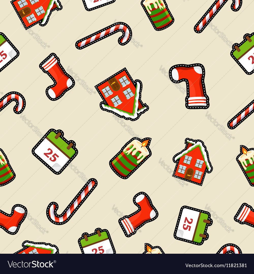 Christmas ornament patch icon pattern background