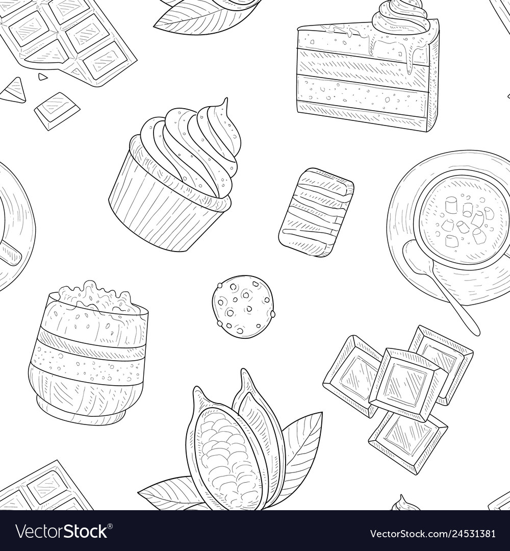 Cocoa products seamless pattern cocoa beans and