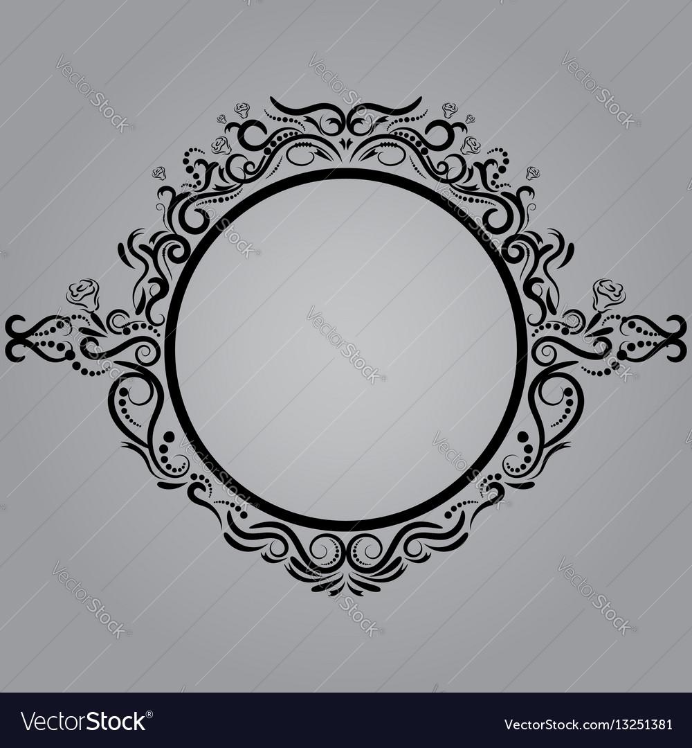 Decorative frame retro frame on gray