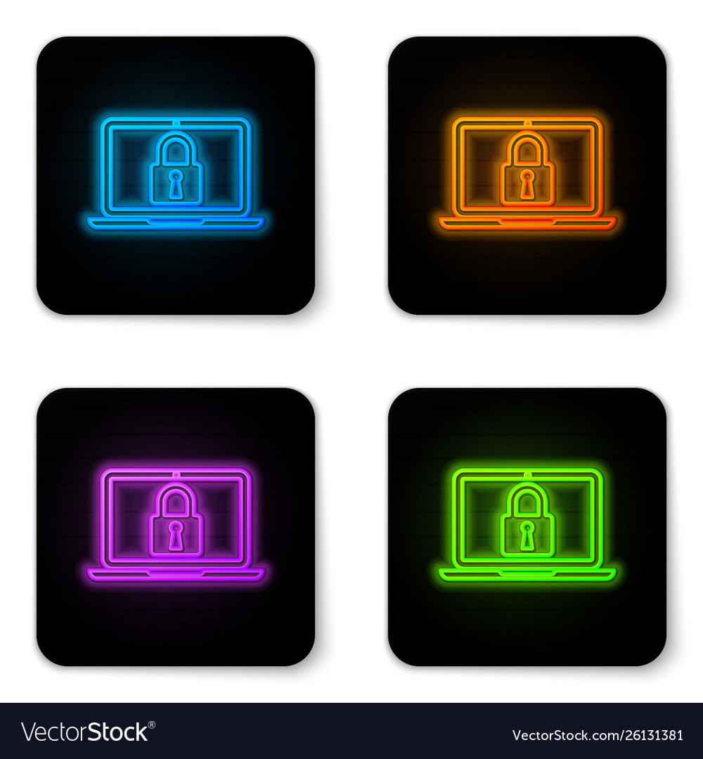Glowing neon laptop and lock icon isolated on