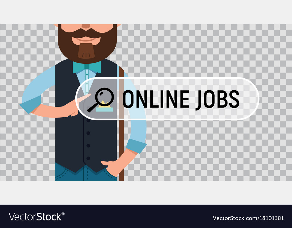 Online Job Search >> Job Search Man Is Writing Online Job On Screen