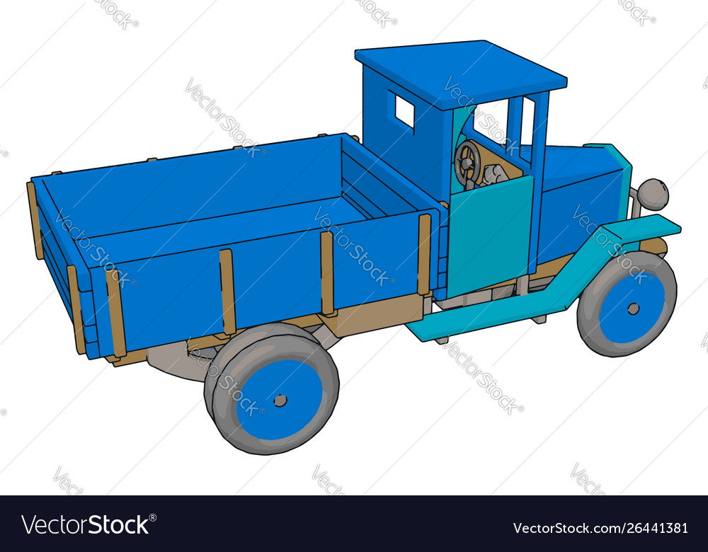 Old retro blue car on white background