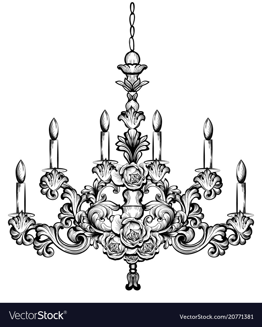 Rich baroque chandelier luxury decor accessory vector image aloadofball Image collections