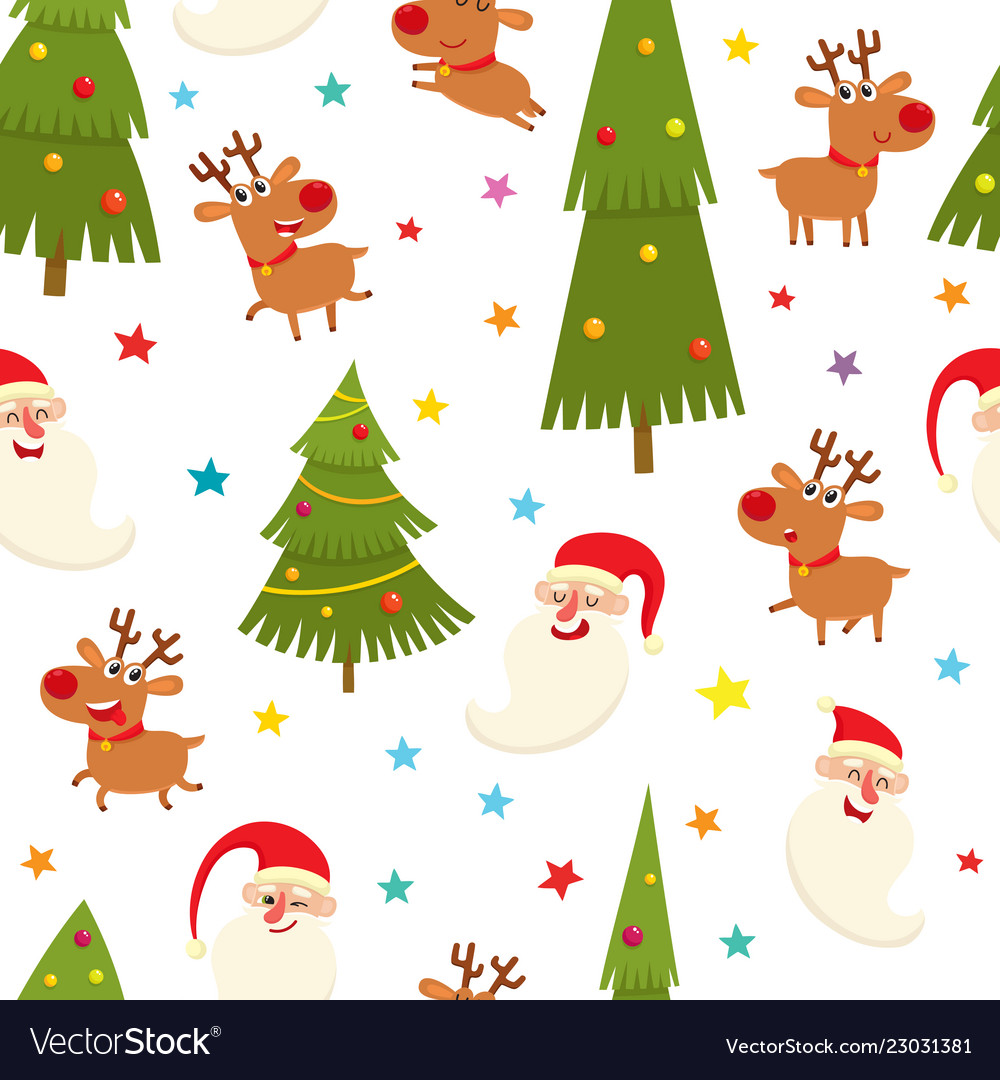 Seamless pattern with reindeers and santa