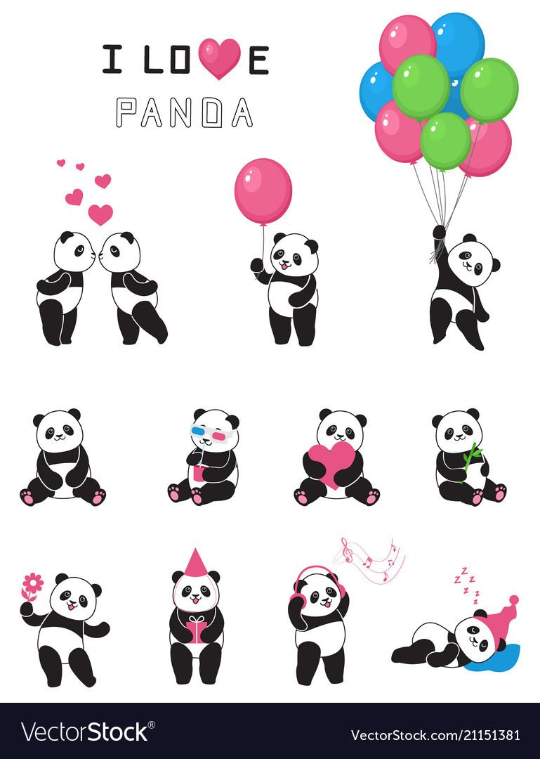 Set of cartoon funny pandas