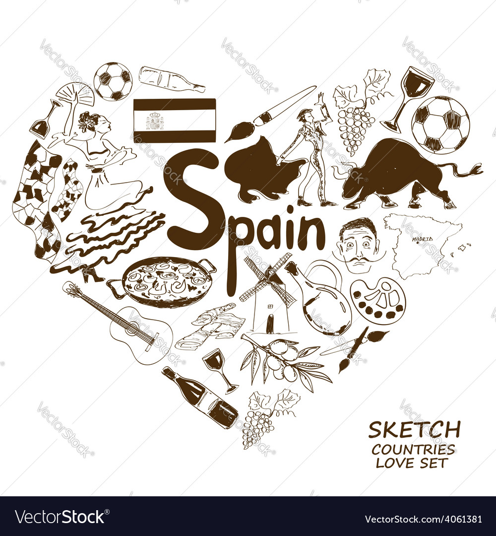 Spanish Symbols In Heart Shape Concept Royalty Free Vector